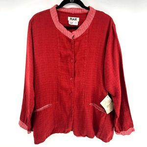 FLAX Red Linen Button Down Jacket